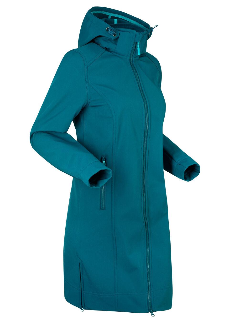 Płaszcz funkcyjny softshell bonprix niebieskozielony morski