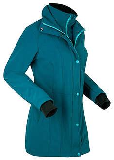 Krótka kurtka softshell 2 w 1 niebieskozielony morski