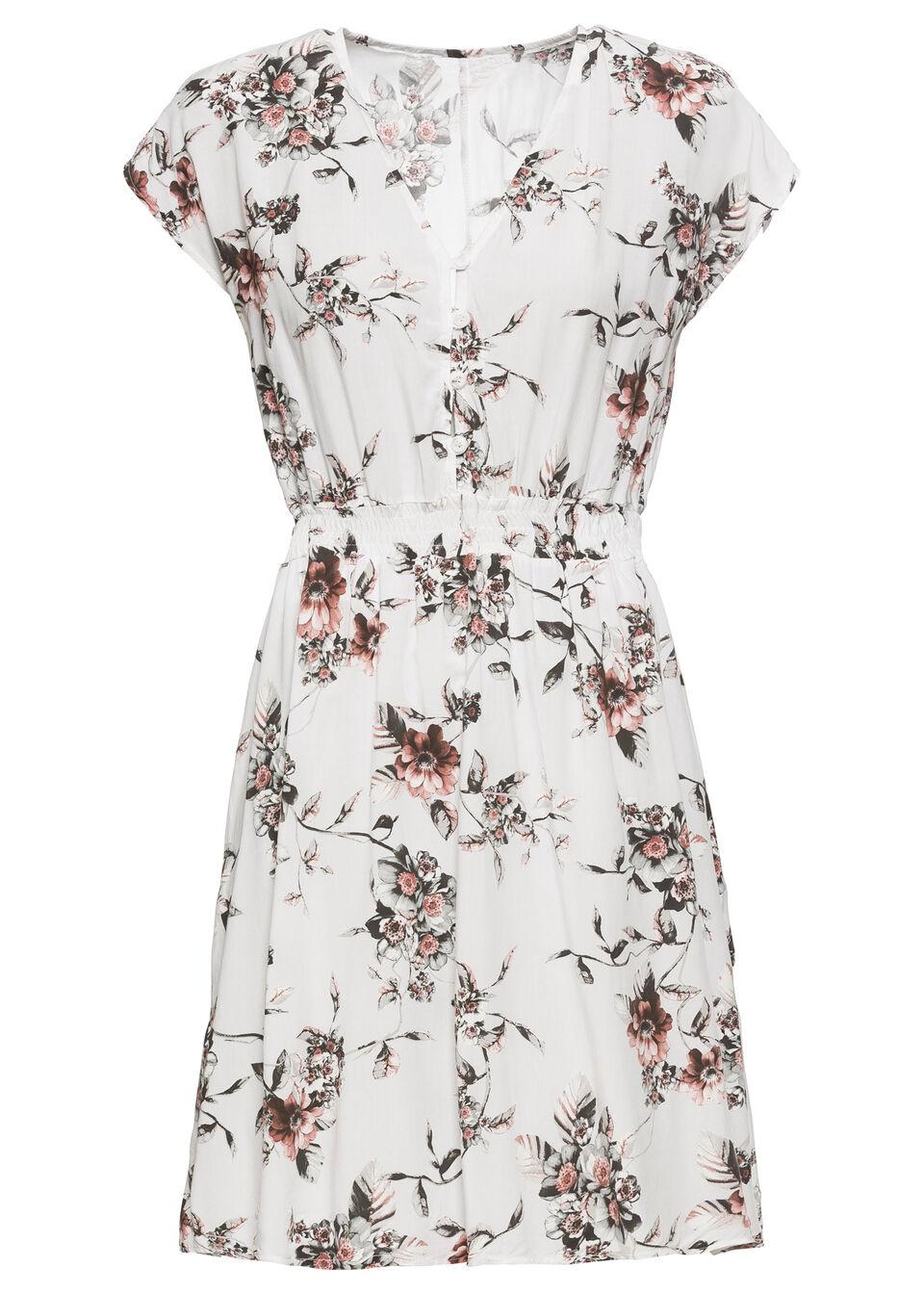 Sukienka z nadrukiem bonprix biały w kwiaty