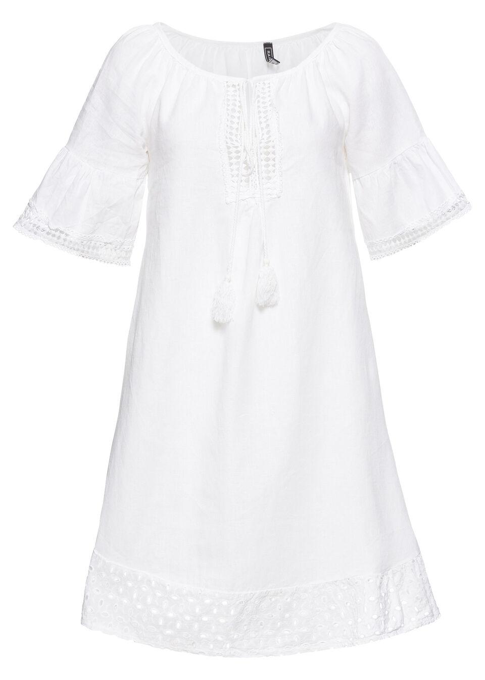 Sukienka lniana bonprix biały