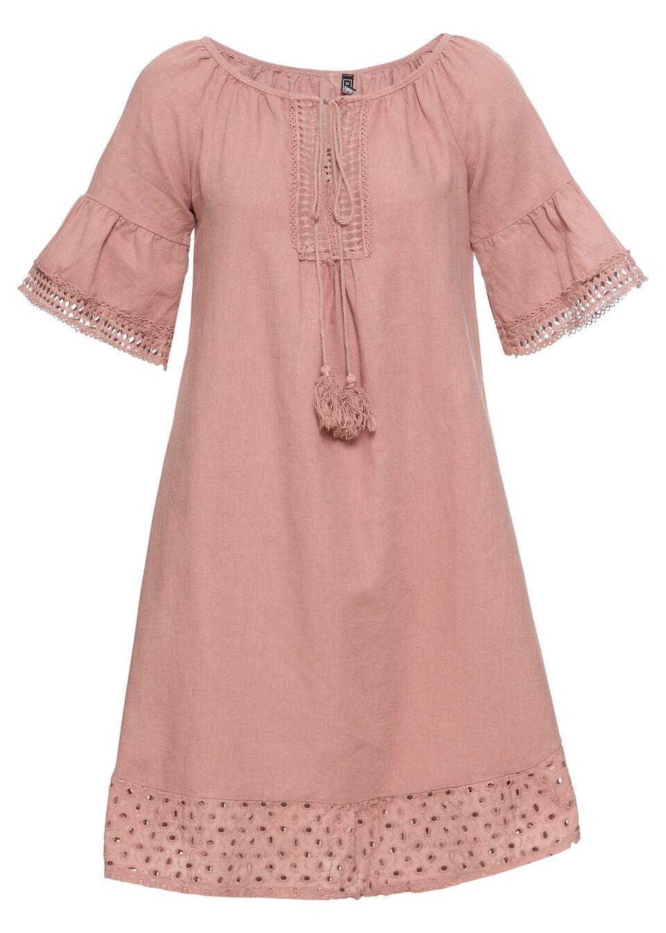 Sukienka lniana bonprix stary jasnoróżowy