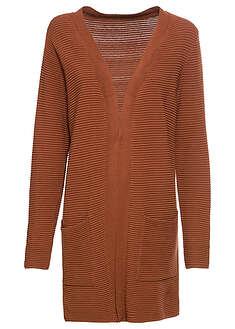Długi sweter bez zapięcia orzechowy