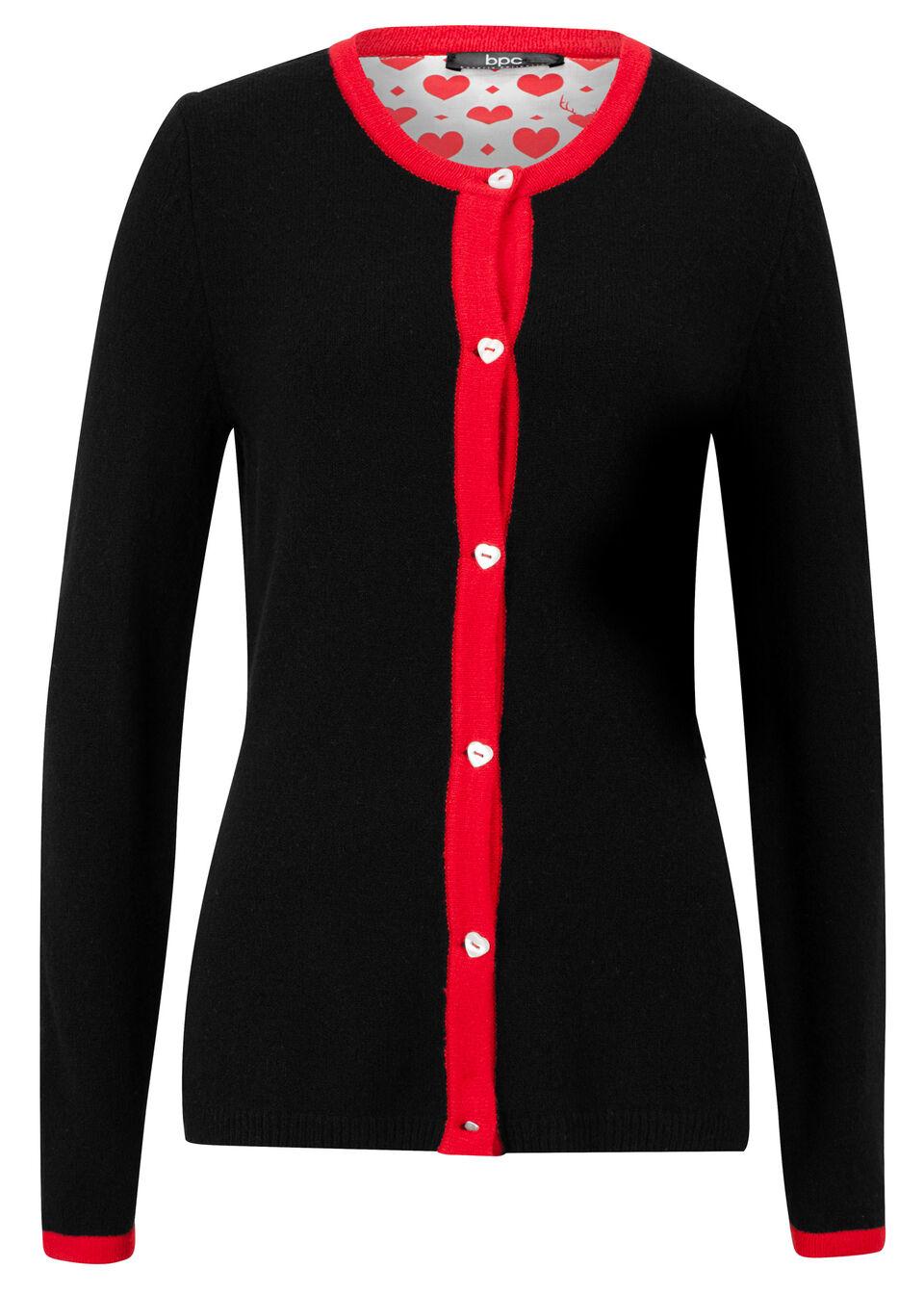 Sweter rozpinany w ludowym stylu bonprix czarny