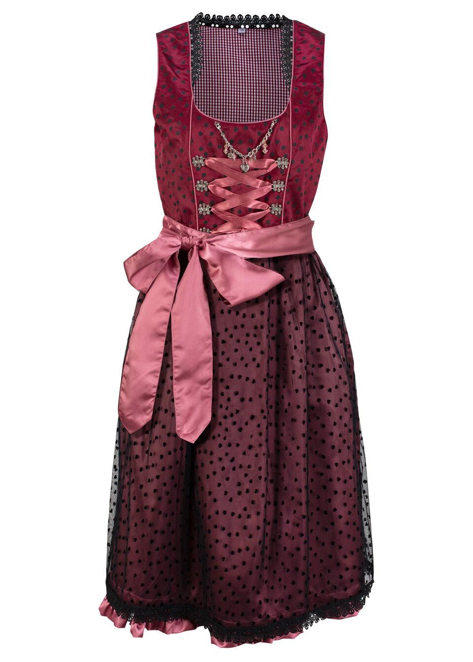 Sukienka w ludowym stylu w serca bonprix czerwony rubinowy z nadrukiem