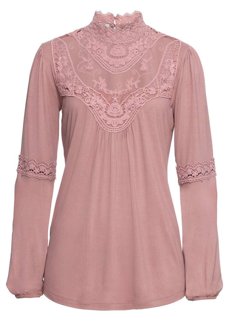 Shirt z koronką i długim rękawem bonprix różowobrązowy