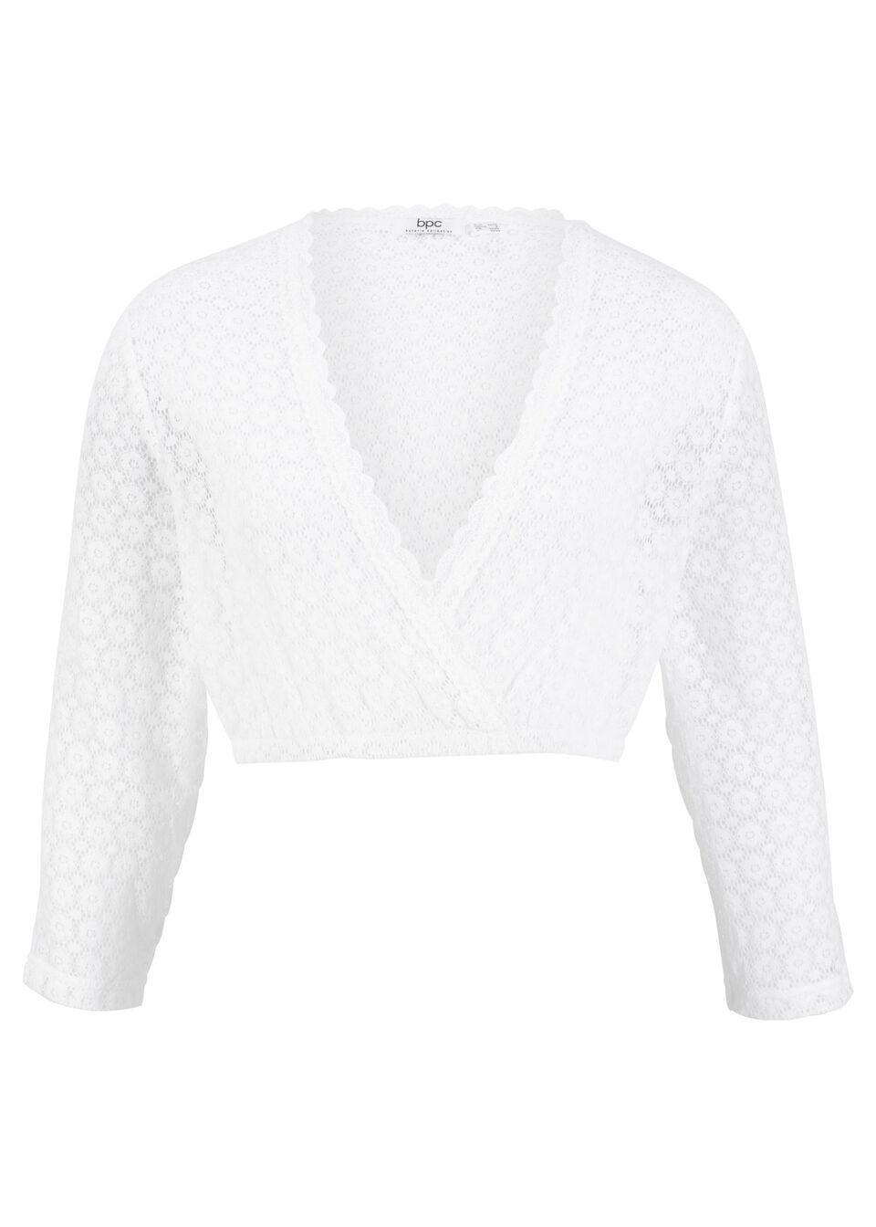 Shirt koronkowy w ludowym stylu z rękawami 3/4 bonprix biały