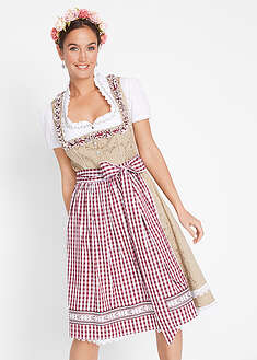 Dirndl kroj so zásterou, po kolená-bpc bonprix collection