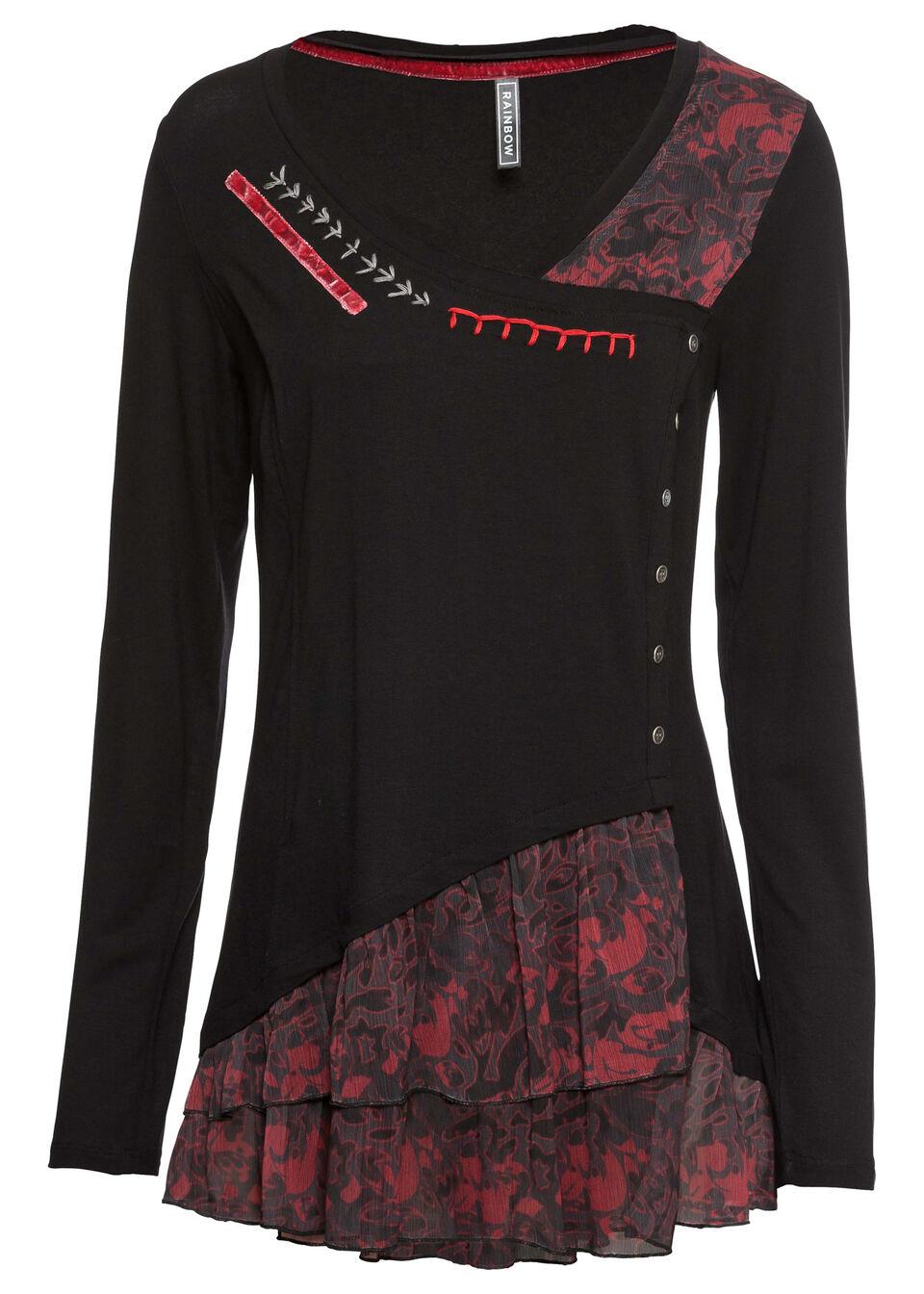 Tunika shirtowa bonprix czarno-czerwony