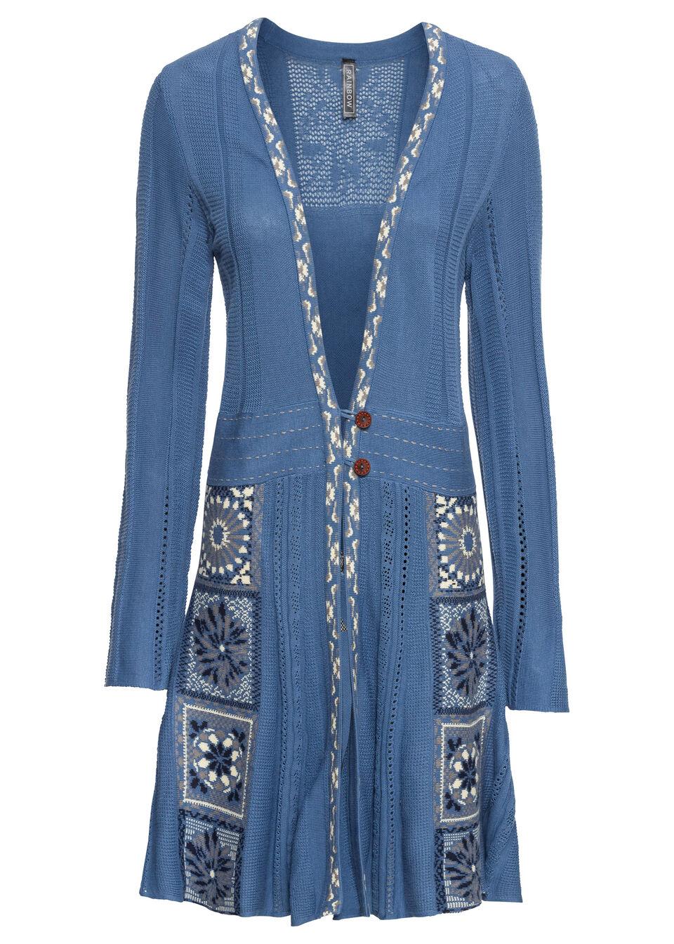 Długi sweter rozpinany bonprix niebieski dżins