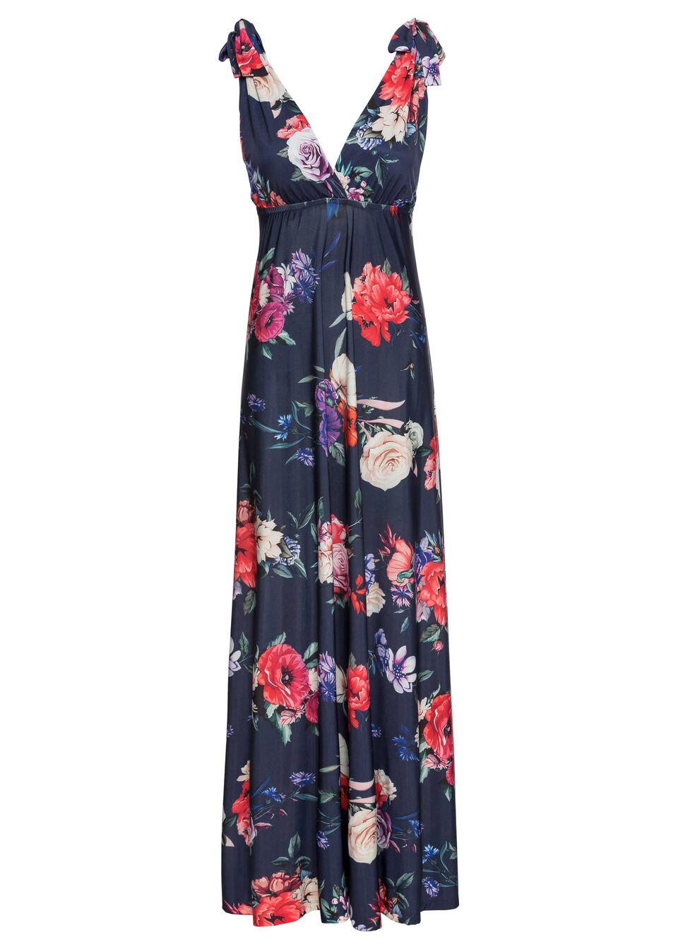 Sukienka maxi w kwiaty bonprix ciemnoniebieski w kwiaty