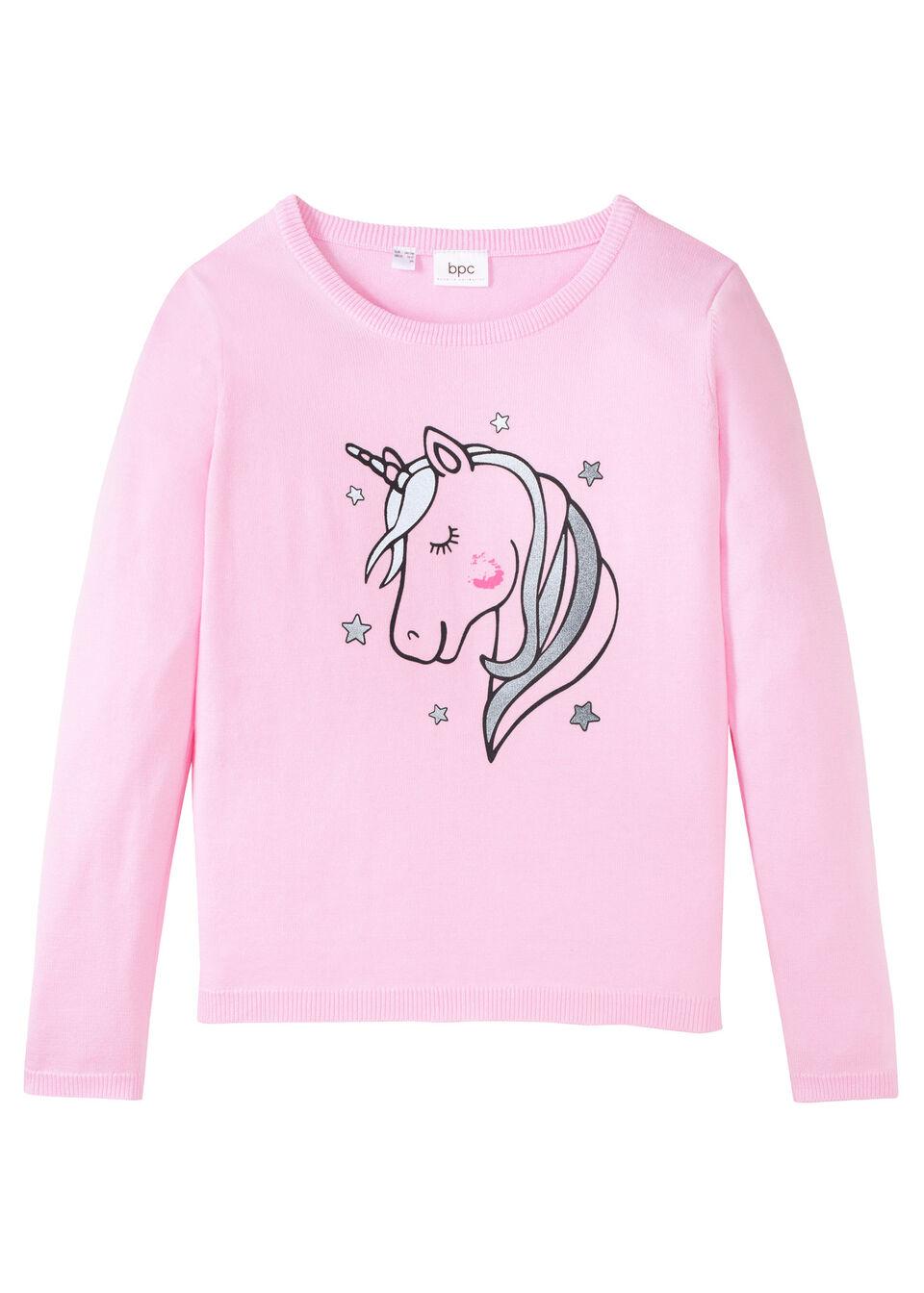 Вязаный пуловер из хлопка с единорогом от bonprix