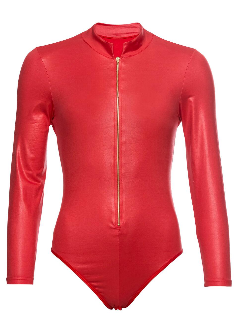 Эротическое белье, Боди с длинным рукавом, bonprix, красный  - купить со скидкой