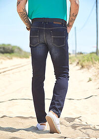 Dżinsy ze stretchem Slim Fit Straight ciemny denim John Baner JEANSWEAR 6
