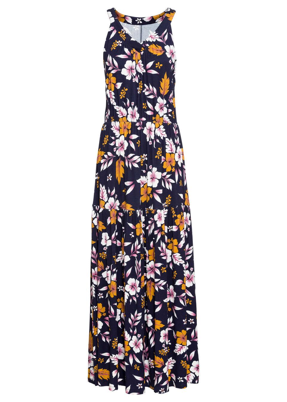 Długa sukienka z nadrukiem bonprix ciemnoniebieski w kwiaty