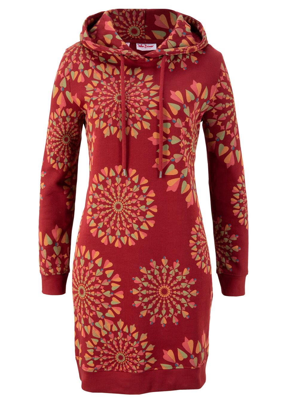 Sukienka dresowa z nadrukiem, długi rękaw bonprix czerwony kasztanowy z nadrukiem bonprix