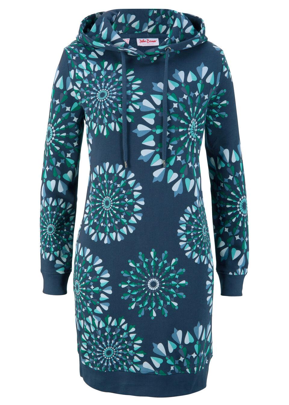 Sukienka dresowa z nadrukiem, długi rękaw bonprix ciemnoniebieski z nadrukiem bonprix
