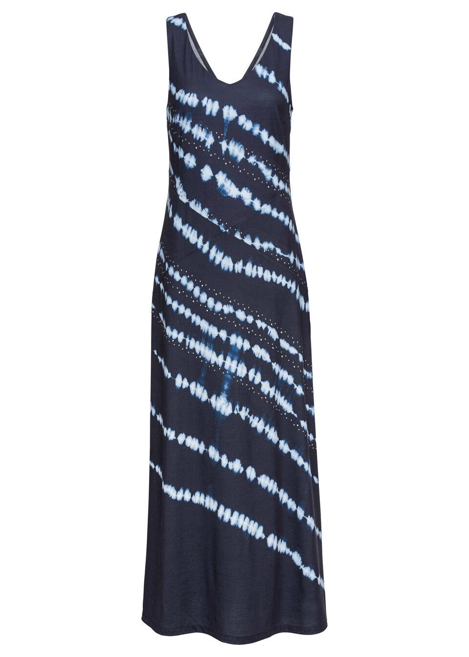 Sukienka maxi z batikowym nadrukiem bonprix ciemnoniebiesko-biel wełny z nadrukiem