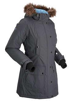 Długa kurtka outdoorowa funkcyjna z kapturem antracytowy
