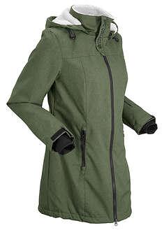 Długa kurtka outdoorowa funkcyjna z polarem barankiem ciemny khaki melanż