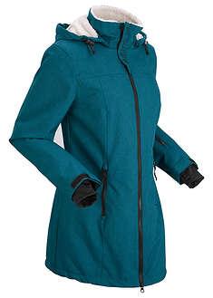 Długa kurtka outdoorowa funkcyjna z polarem barankiem niebieskozielony morski