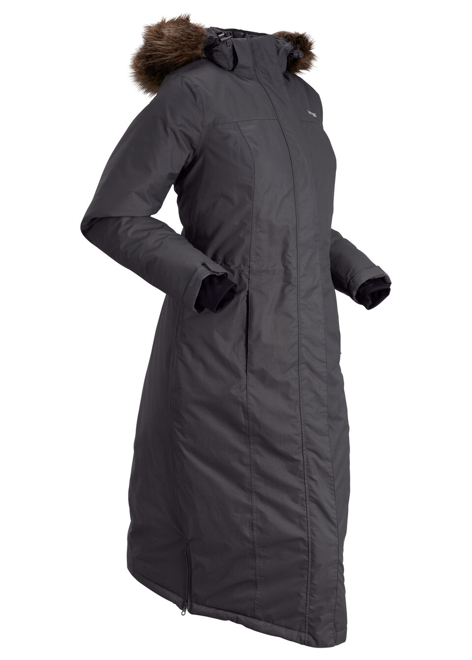 Płaszcz outdoorowy funkcyjny ze sztucznym futerkiem bonprix szary