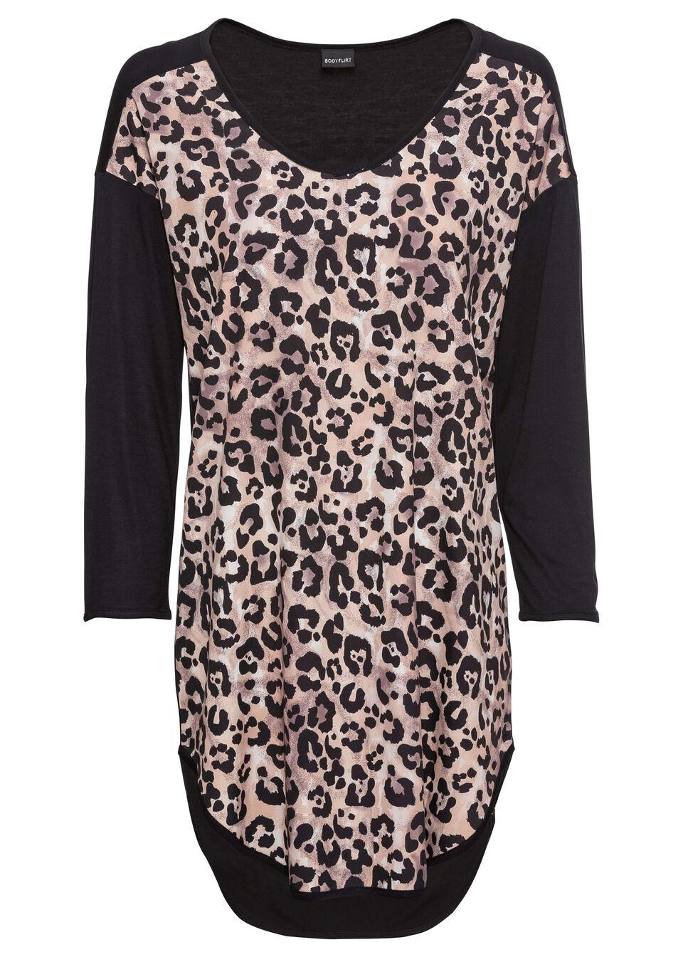 Długi shirt z różnych materiałów bonprix brązowy w cętki leoparda