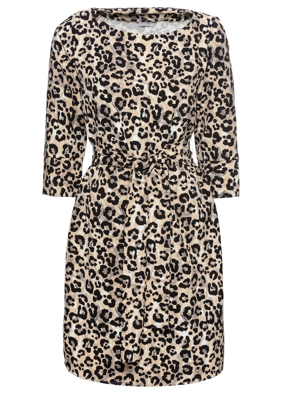 Sukienka z paskiem bonprix brązowy w cętki leoparda