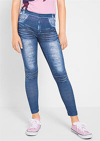 Colanţi fete aspect denim albastru stone bpc bonprix collection 1