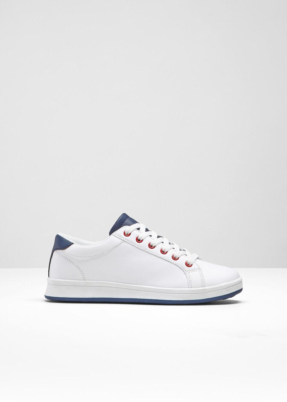 Sneakersy bonprix biało-ciemnoniebieski