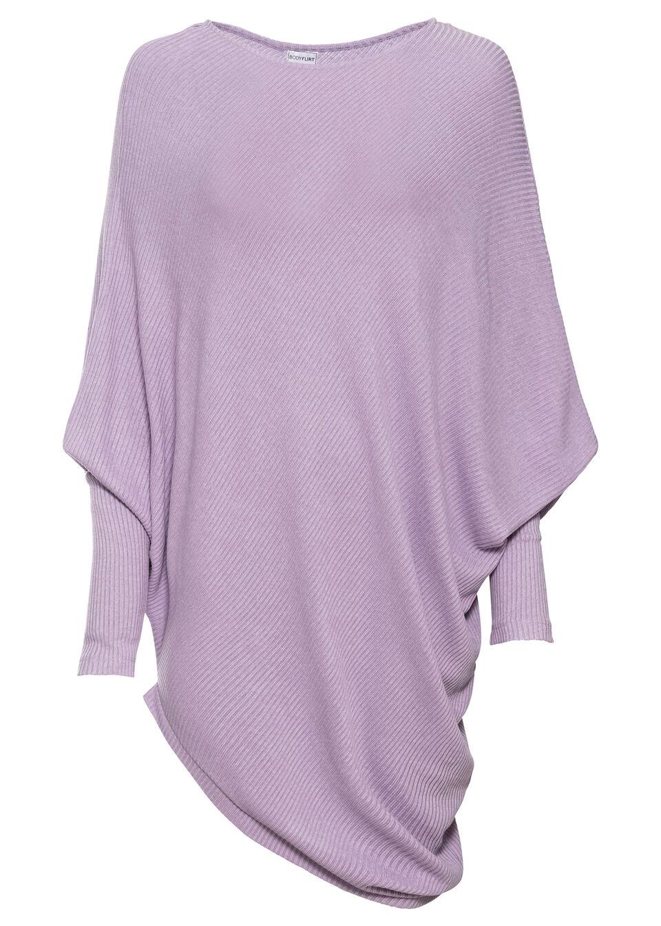 Купить Свитера, Пуловер оверсайз с асимметричным низом, bonprix, сиреневый