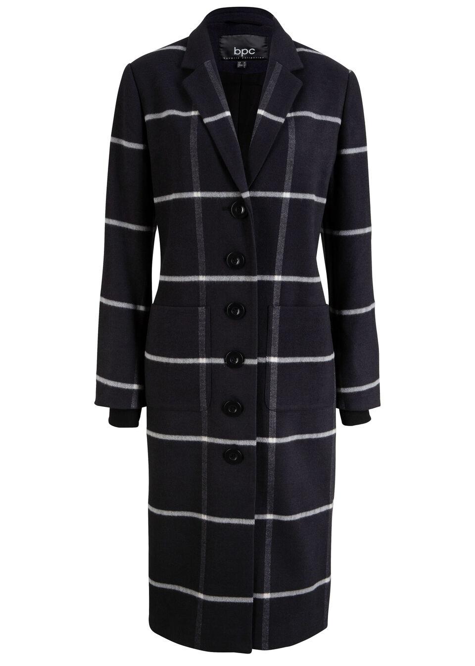 Dług płaszcz w kratę, ze ściągaczem w prążek bonprix czarno-biały w kratę