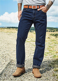 Classic Fit thermo-farmernadrág, Straight sötétkék denim John Baner JEANSWEAR 6