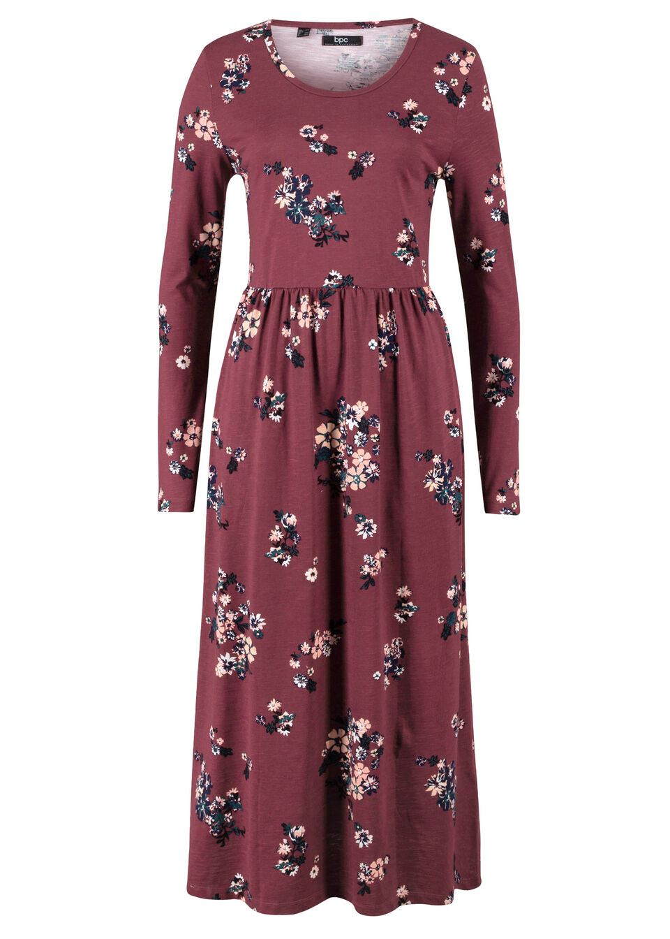 Rozkloszowana sukienka maxi z dżerseju, długi rękaw bonprix czerwony klonowy - kobaltowy w kwiaty