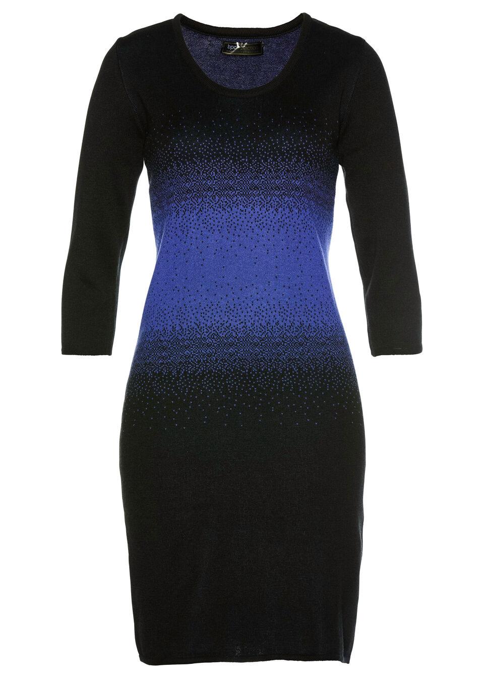 Sukienka dzianinowa bonprix szafirowo-czarny