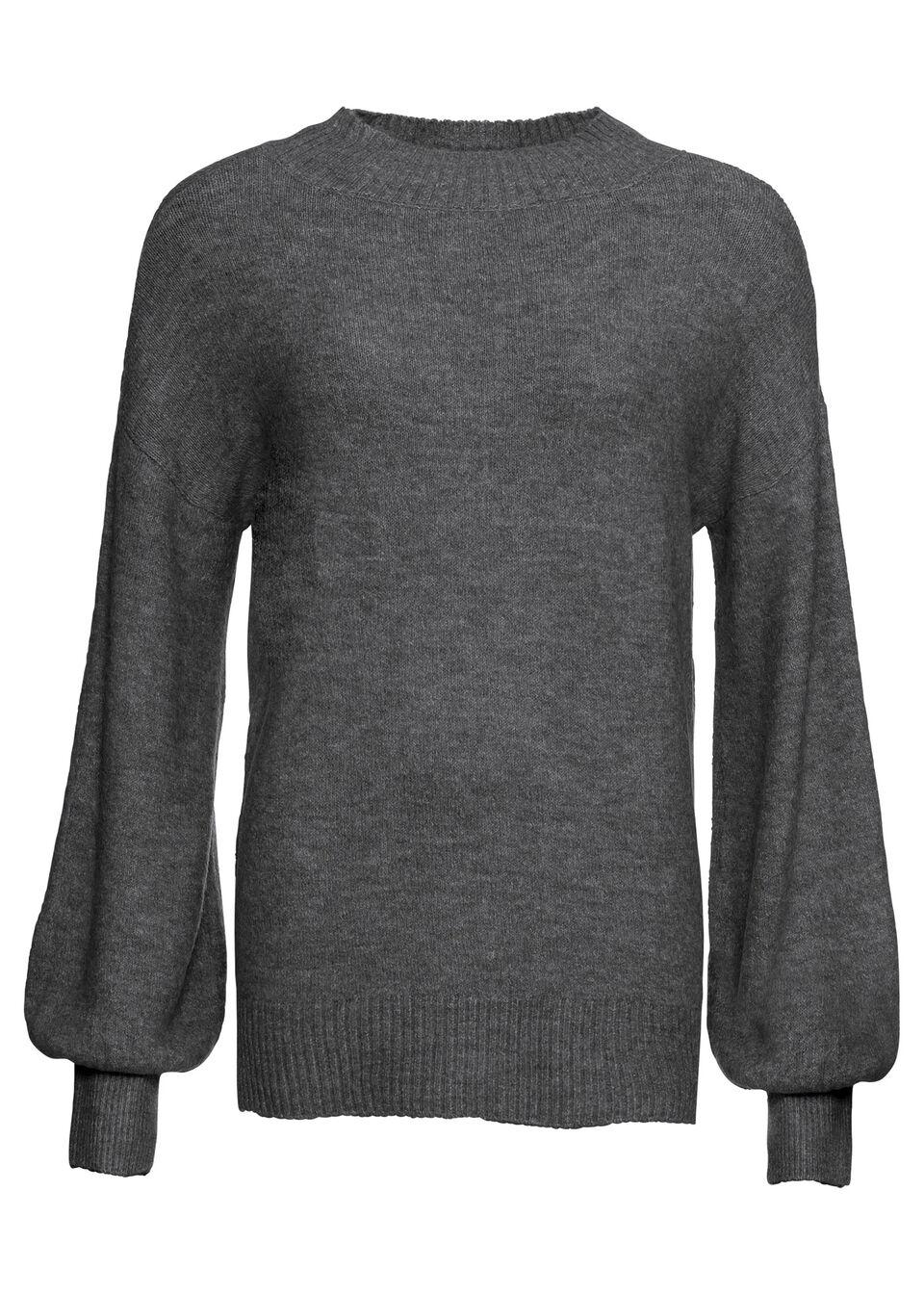 Sweter oversize ze stójką bonprix antracytowy melanż