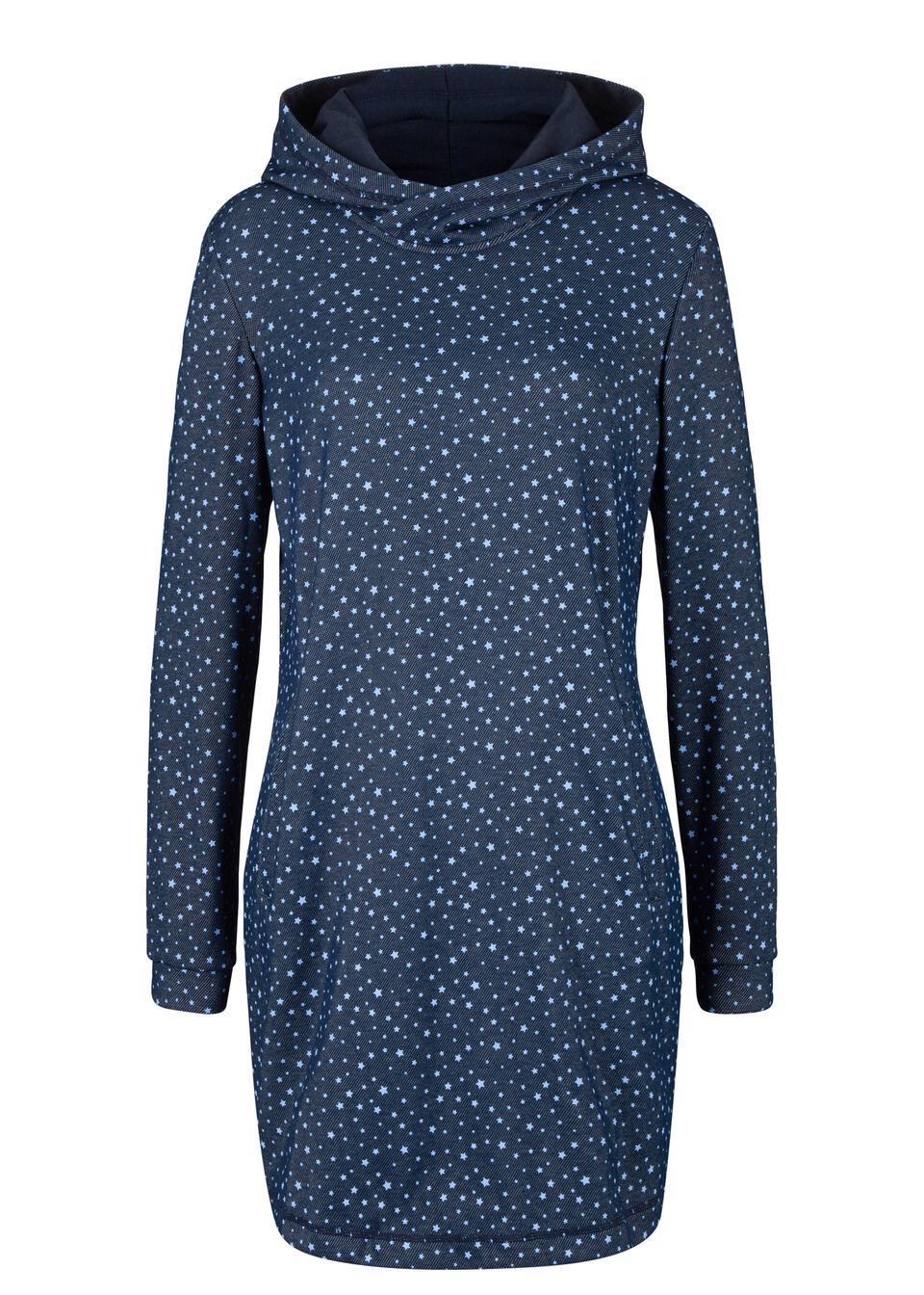 Sukienka dresowa ocieplana, z nadrukiem bonprix niebieski z nadrukiem w gwiazdy