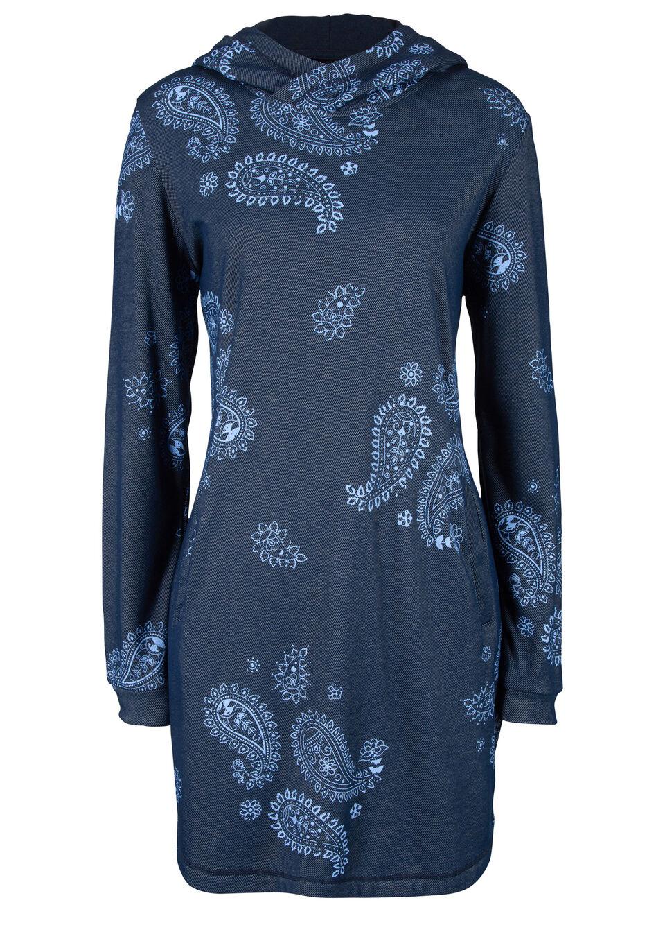"""Sukienka dresowa ocieplana, z nadrukiem bonprix niebieski z nadrukiem """"paisley"""""""