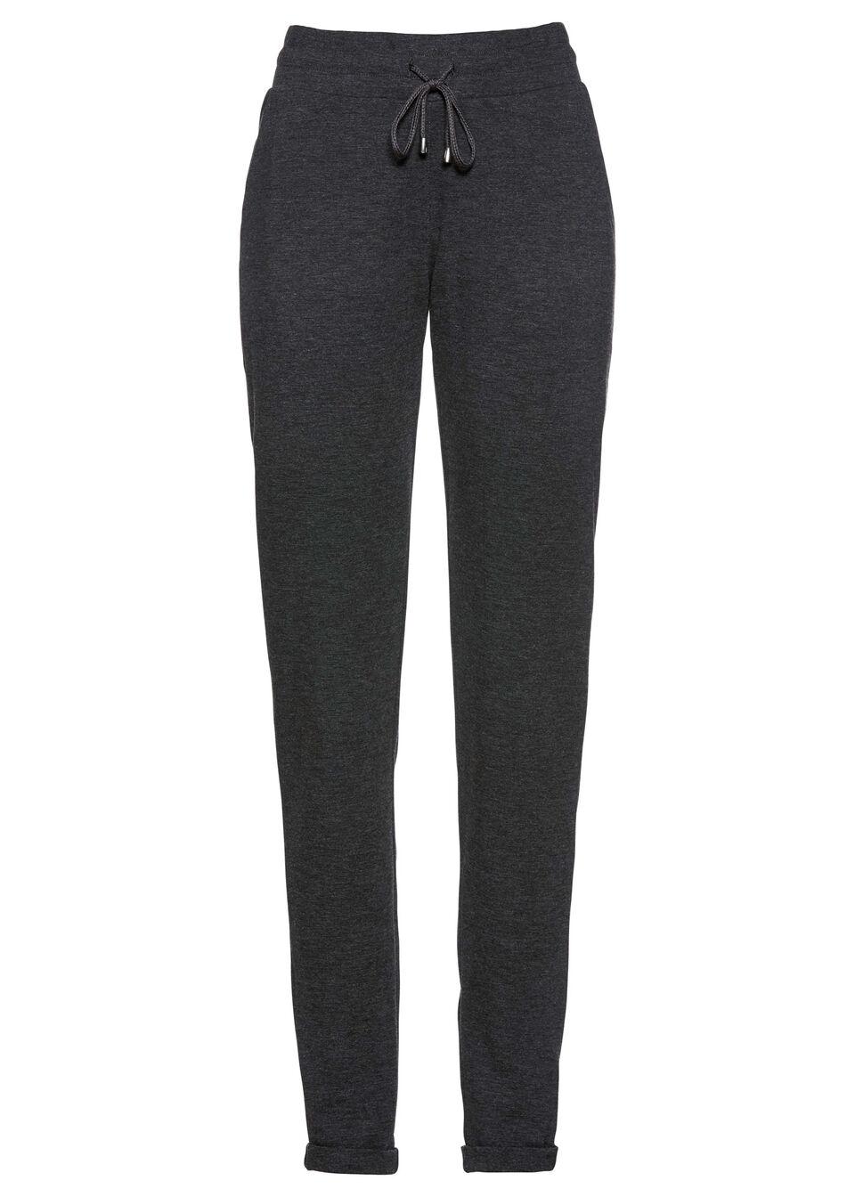 Spodnie bez zamka w talii bonprix antracytowy melanż