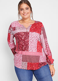 Bluză cu aspect patchwork, design Maite Kelly roşu-granat paisley bpc bonprix collection 1