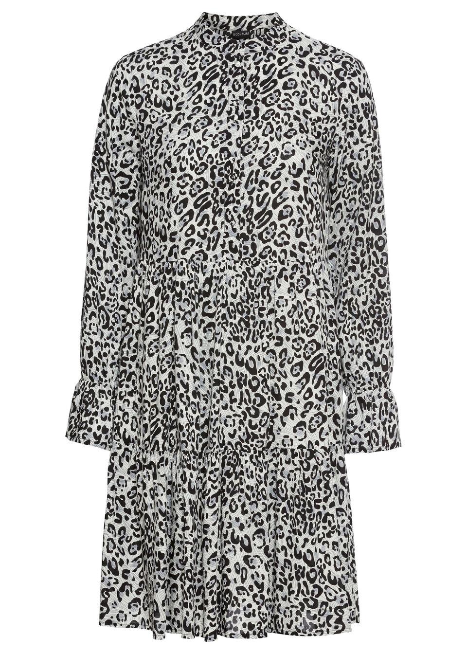 Sukienka koszulowa z nadrukiem bonprix szaro-czarny leo z nadrukiem