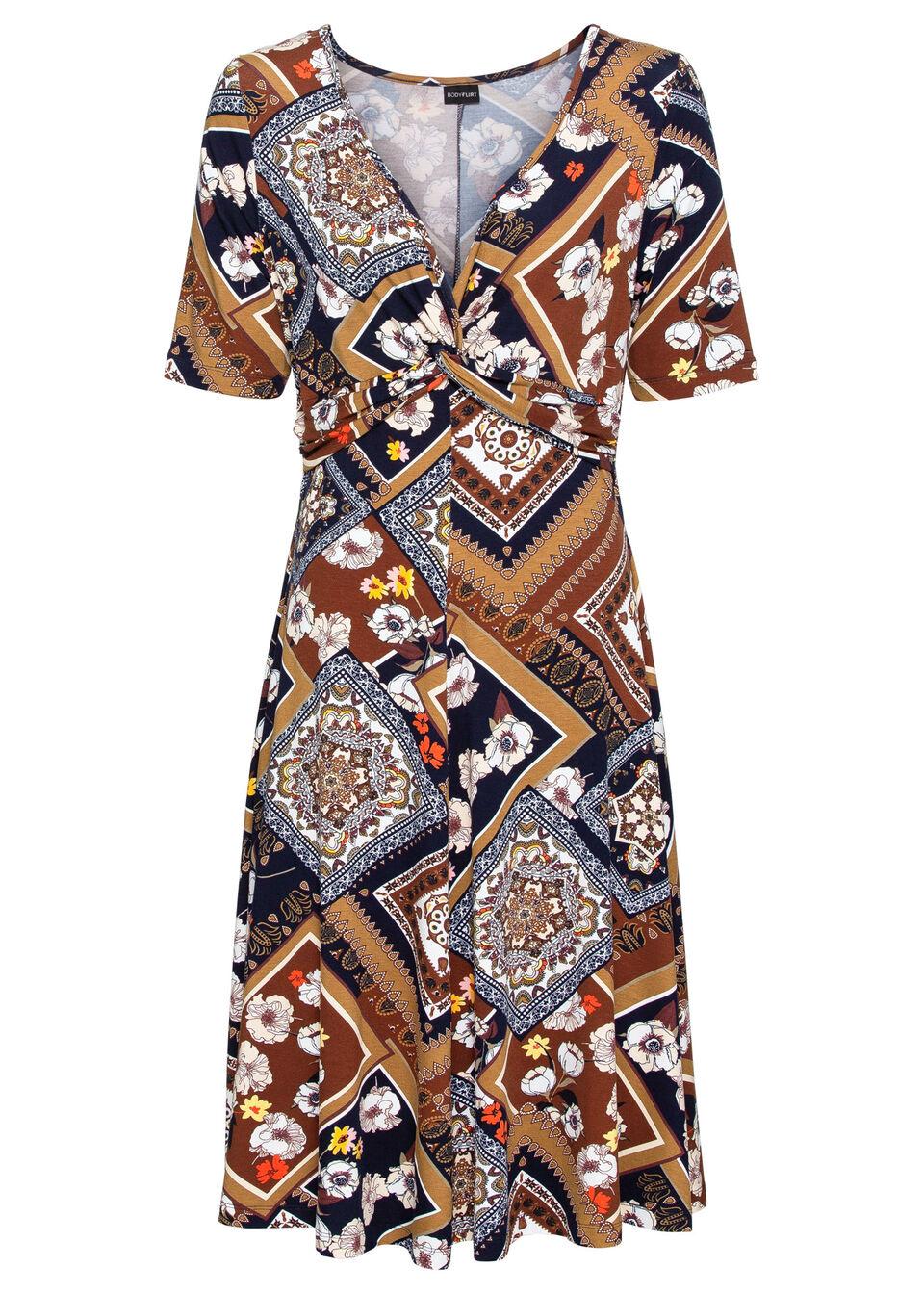 Sukienka midi z dżerseju z nadrukiem i marszczeniem bonprix ceglastobrązowy wzorzysty