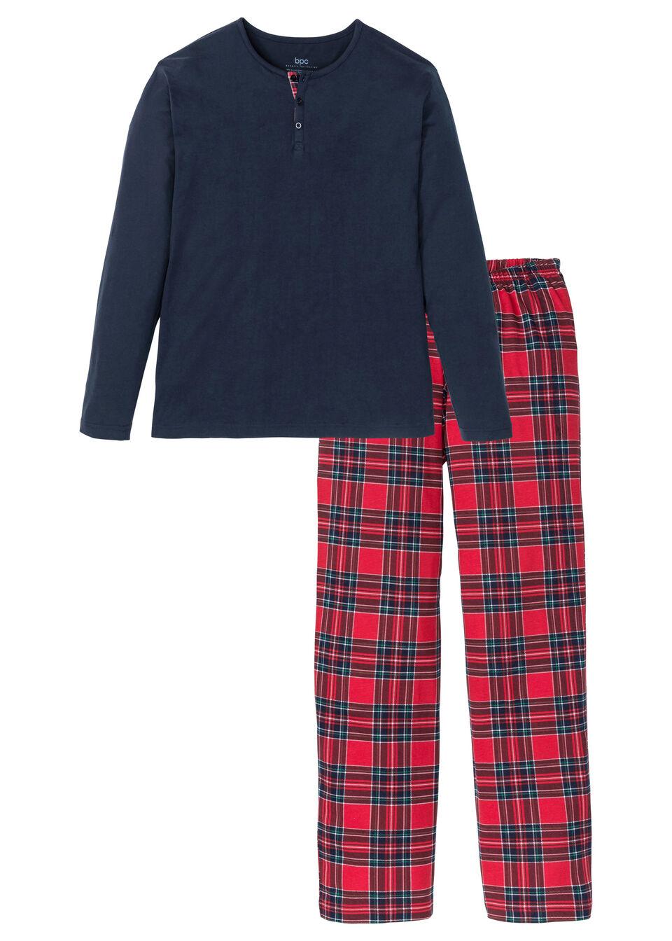 Пижамы, Пижама, bonprix, тёмно-синий-белый-красный-зелёный в клетку  - купить со скидкой