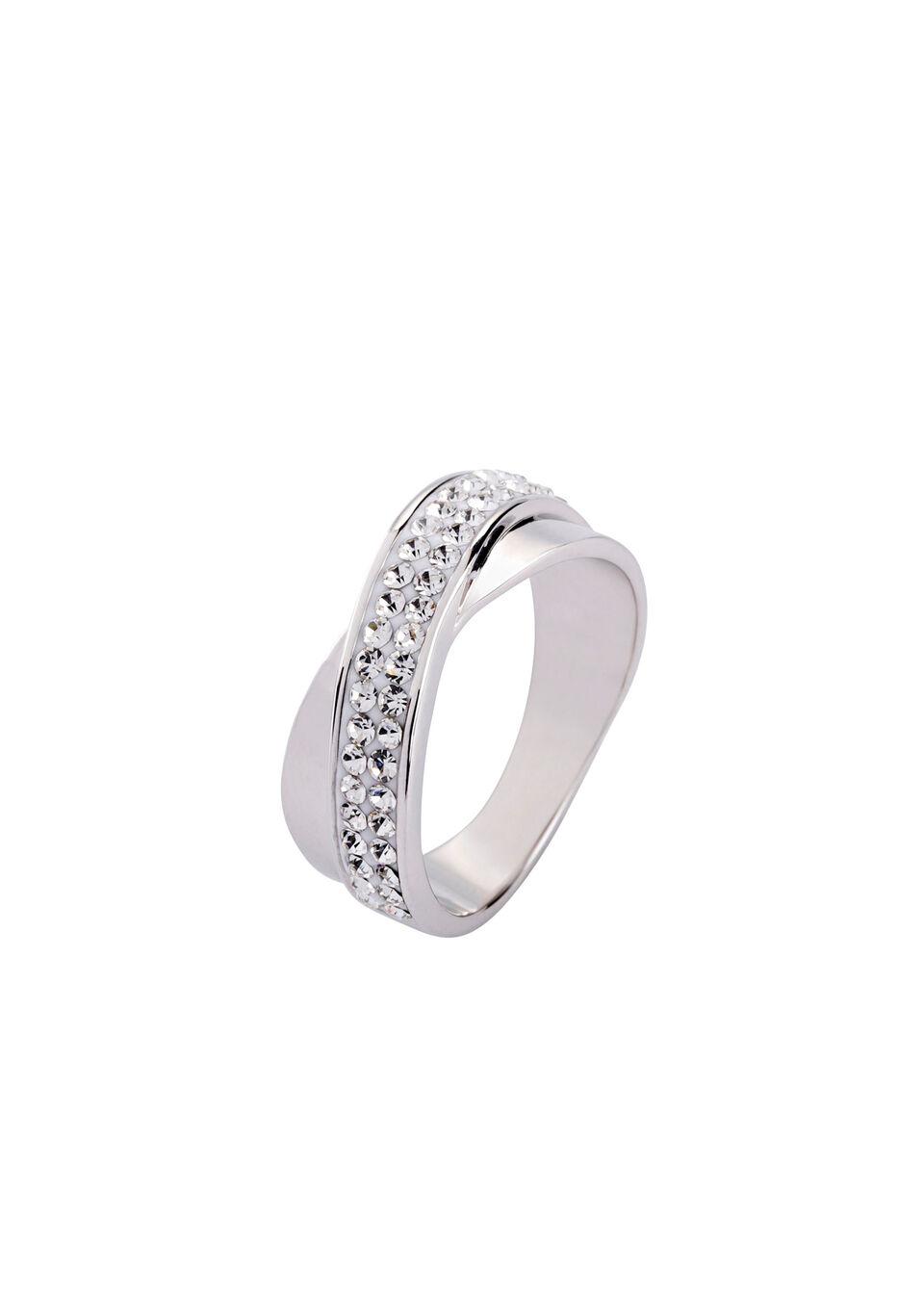 Pierścionek z kryształami bonprix srebrny kolor rodowany