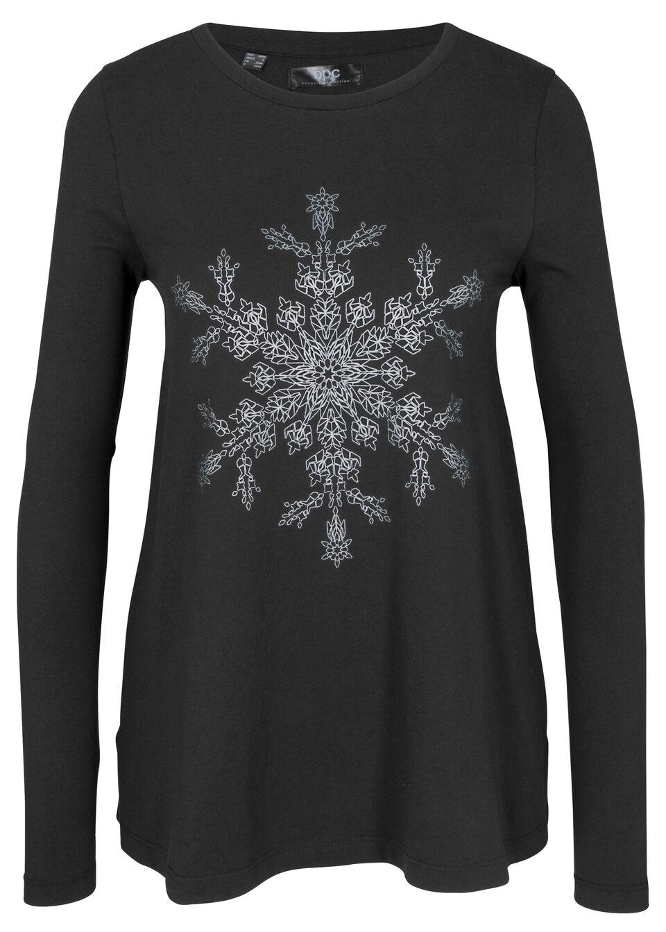 Shirt bawełniany z długim rękawem i nadrukiem z motywem płatków śniegu bonprix czarny z nadrukiem