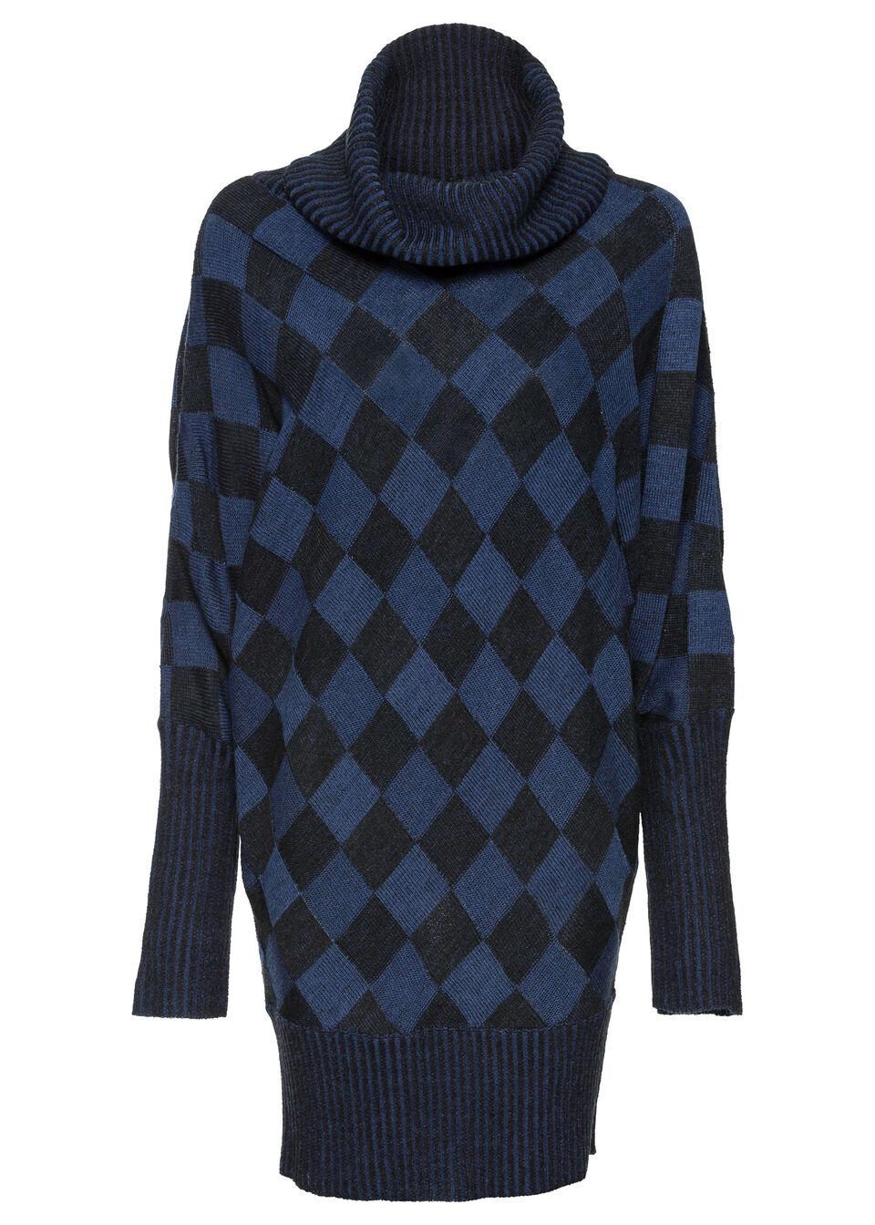 Długi sweter bonprix głęboki niebieski - czarny melanż