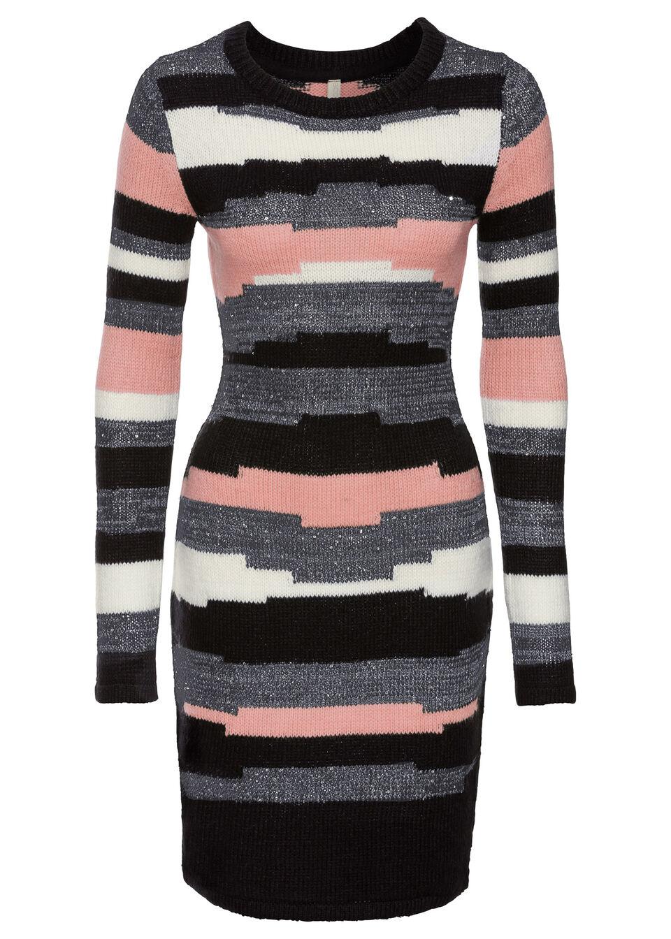 Sukienka dzianinowa bonprix jasnoróżowo-szaro-czarny