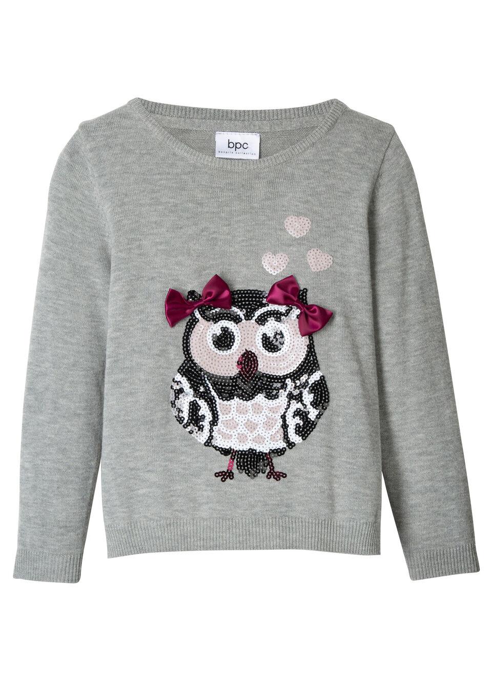 Пуловер с пайетками для девочки от bonprix