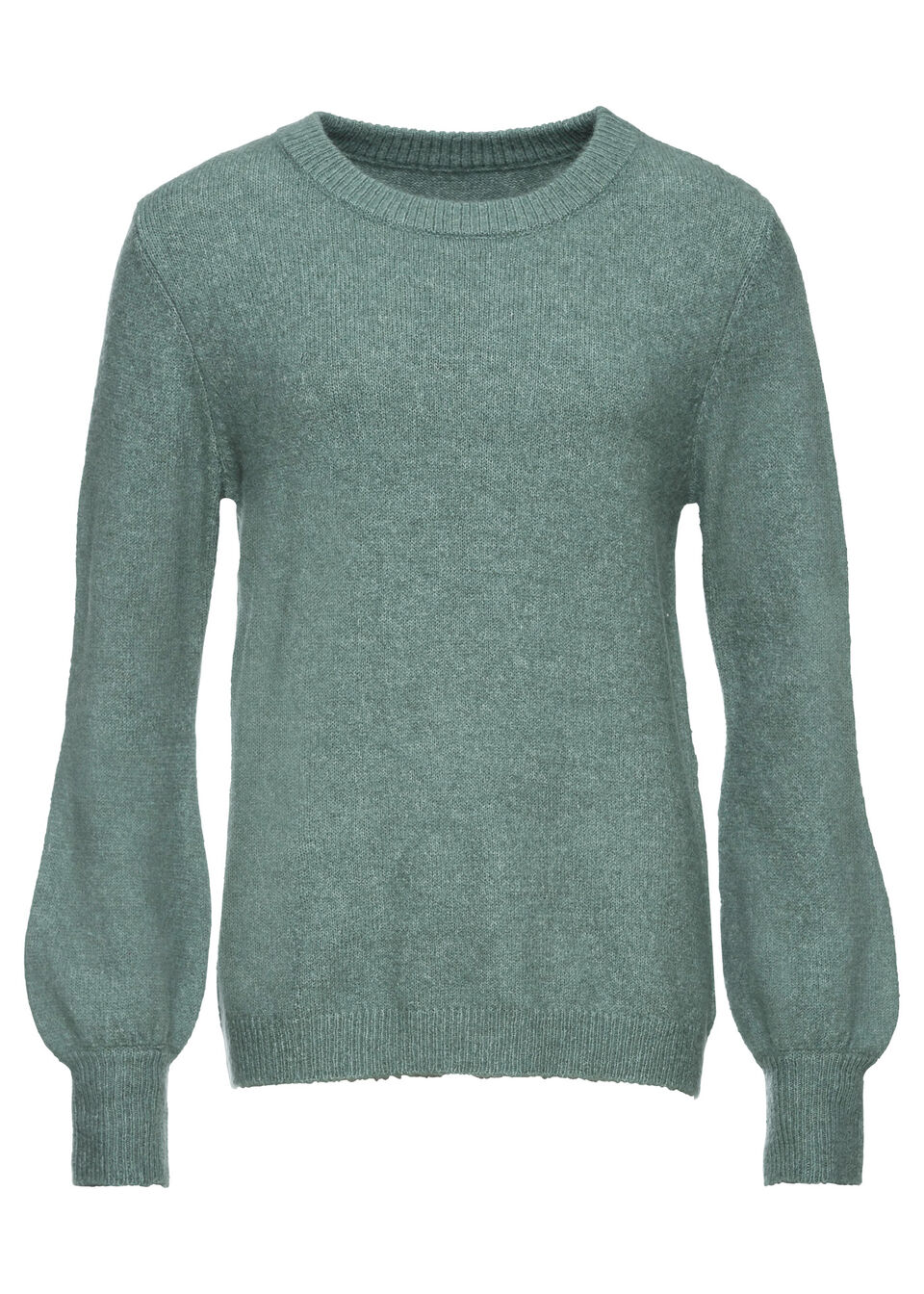 Sweter z balonowymi rękawami bonprix niebieski mineralny melanż