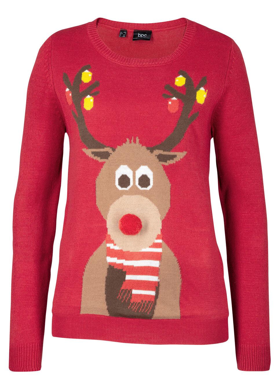 Купить Свитера, Пуловер, bonprix, темно-красный с узором