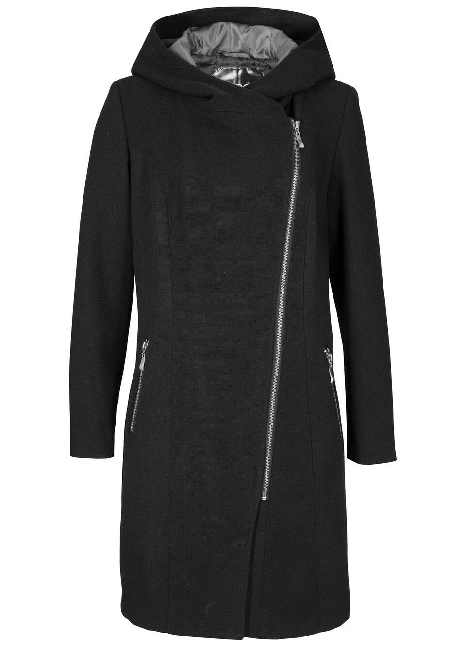 Długa kurtka z ukośnym zamkiem bonprix czarny